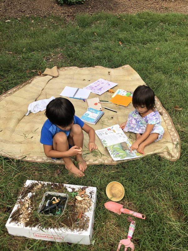 Screen free learning, outdoor play and learning on picnic blanket