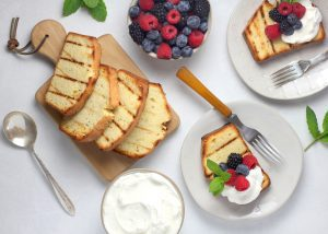 grilled pound cake with whipped cream and berries