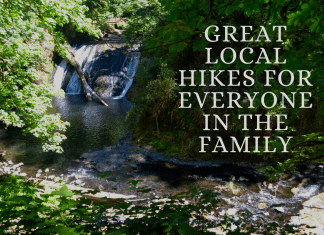 Great local hikes for everyone in the family with waterfall background